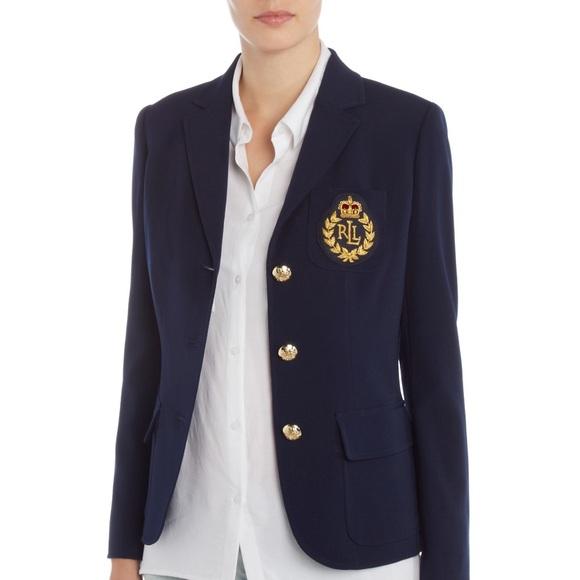 87f65fbb6f6 Lauren Ralph Lauren Jackets   Blazers - Womens Ralph Lauren Blue Blazer  with Crest Pocket